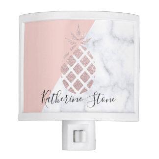 Elegant rose gold glitter white marble blush pink night light
