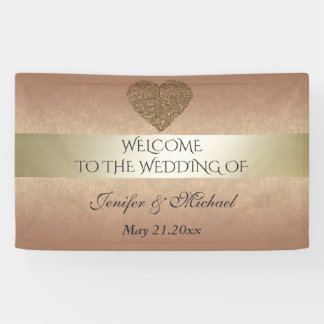 Elegant rose gold  golden abstract heart wedding banner
