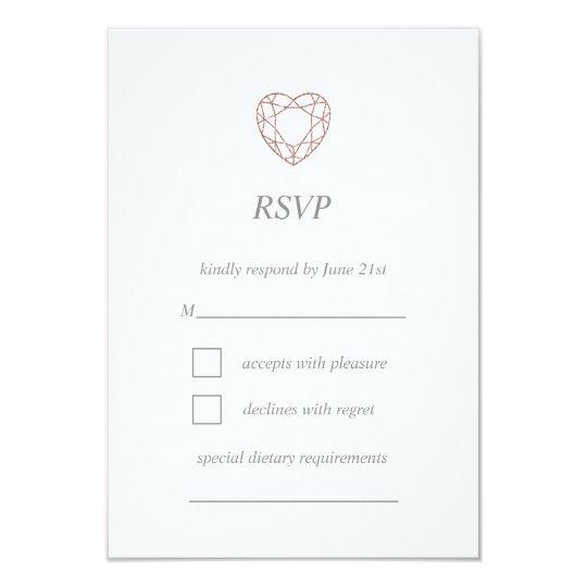 Elegant rose gold heart RSVP card