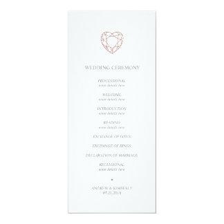 Elegant rose gold heart wedding program