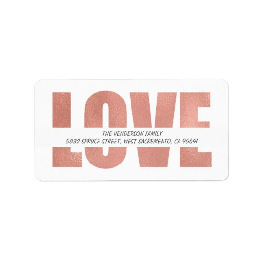Elegant Rose Gold Holiday Greetings   Love Label