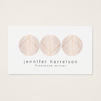 Elegant Rose Gold Leaf Trio Logo on White Business Card