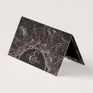 Elegant rose gold mandala dots and marble artwork business card