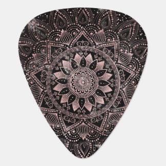 Elegant rose gold mandala dots and marble artwork. guitar pick