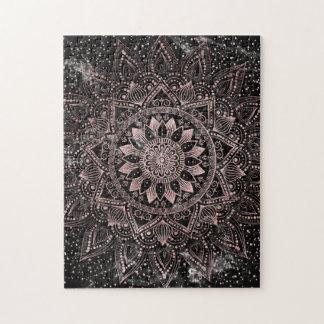 Elegant rose gold mandala dots and marble artwork. jigsaw puzzle