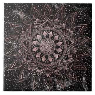 Elegant rose gold mandala dots and marble artwork. tile