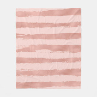 Elegant  Rose Gold Metallic Handpainted Stripes Fleece Blanket