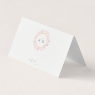 Elegant rose gold monogram place cards - folded