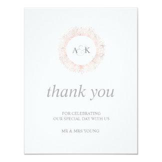 Elegant rose gold monogram thank you - flat card