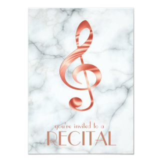 elegant rose gold music treble clef on marble card