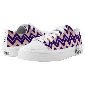 elegant rose gold navy blue chevron pattern Low-Top sneakers