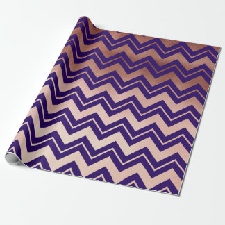 elegant rose gold navy blue chevron pattern wrapping paper