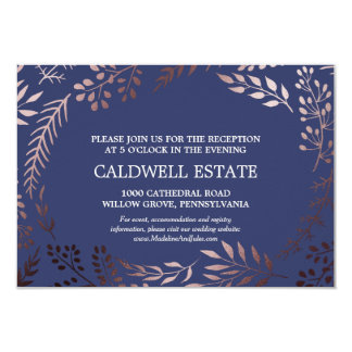 Elegant Rose Gold & Navy Wedding Reception Insert Card