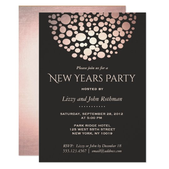 Elegant Rose Gold New Year's Eve Party Card