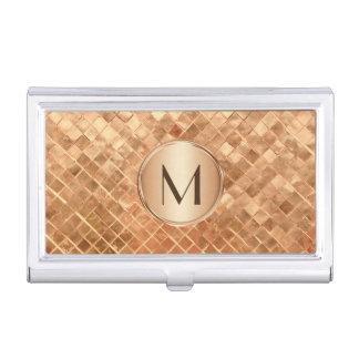 Elegant Rose Gold Pattern with Monogram Business Card Holder