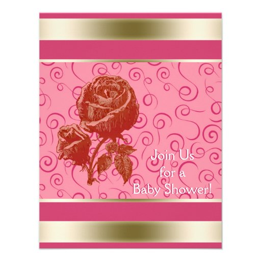 Elegant Rose Gold Pink Girl Baby Shower Personalized Invite