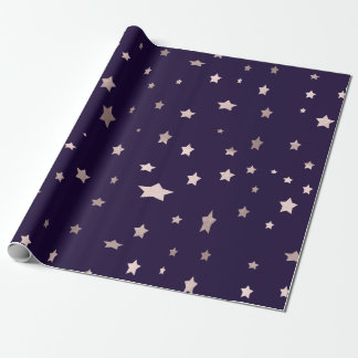 elegant rose gold stars on a purple background