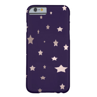 elegant rose gold stars on a purple background barely there iPhone 6 case