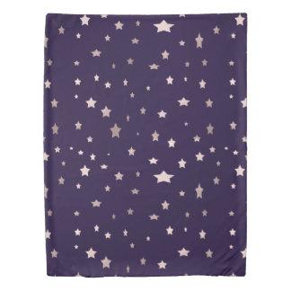 elegant rose gold stars on a purple background duvet cover