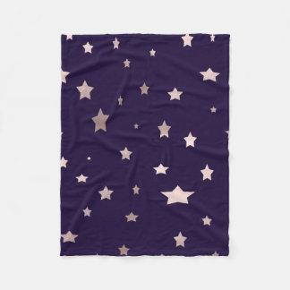 elegant rose gold stars on a purple background fleece blanket