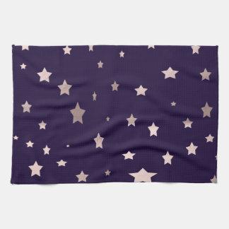 elegant rose gold stars on a purple background hand towels
