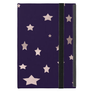 elegant rose gold stars on a purple background iPad mini covers