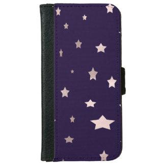 elegant rose gold stars on a purple background iPhone 6 wallet case