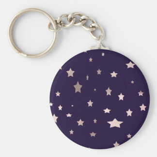 elegant rose gold stars on a purple background keychain