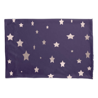 elegant rose gold stars on a purple background pillowcase