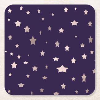 elegant rose gold stars on a purple background square paper coaster
