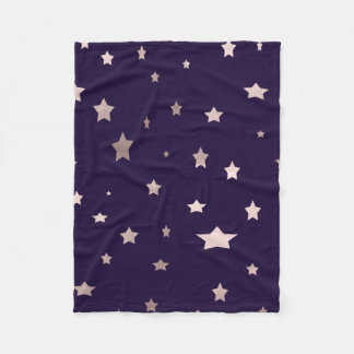 elegant rose gold stars purple background fleece blanket