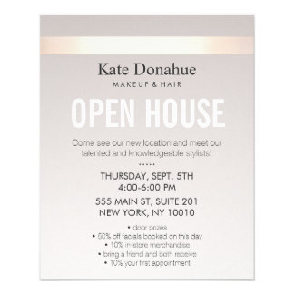Elegant Rose Gold Striped Modern Open House Full Color Flyer