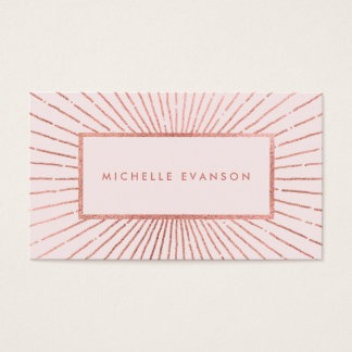 Elegant Rose Gold Sunburst Blush Pink Professional Business Card