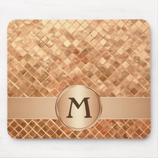 Elegant Rose Gold Tile Pattern Monogrammed Mouse Pad