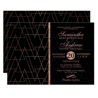 Elegant rose gold triangle typography wedding card