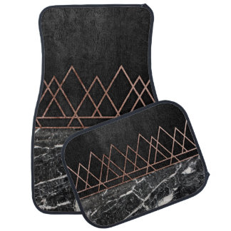 Elegant Rose Gold Triangles & Black & White Marble Car Mat