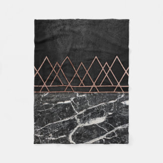 Elegant Rose Gold Triangles & Black & White Marble Fleece Blanket
