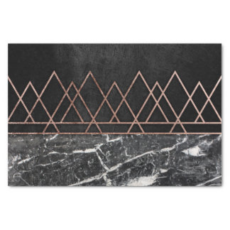 Elegant Rose Gold Triangles & Black & White Marble Tissue Paper