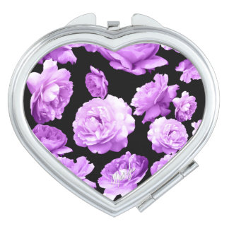 Elegant Rose Heart-Shaped Duo Mirror Compact Compact Mirror