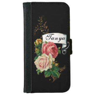 Elegant Roses and Gold Leaves Personalized iPhone 6 Wallet Case