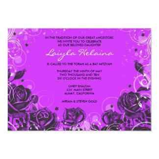 """Elegant Roses Bat Mitzvah Invitation Invite 5"""" X 7"""" Invitation Card"""