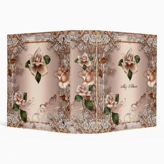 Elegant Roses Beige Cream Gold Butterfly Floral Binder