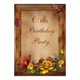 """Elegant Roses & Butterfly 65th Birthday Party 5"""" X 7"""" Invitation Card"""