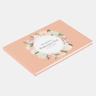 Elegant roses floral wedding guest book