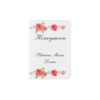 Elegant Roses On White Brides Honeymoon Passport Holder