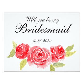 Elegant Roses On White Bridesmaid Invitation