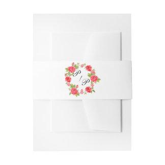 Elegant Roses On White Wedding Invitation Belly Band