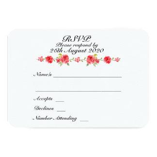 Elegant Roses On White Wedding RSVP Card