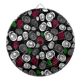 Elegant roses pattern dartboard with darts
