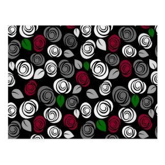 Elegant roses pattern postcard